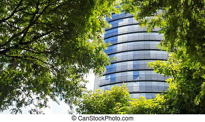 Blue Glass Skyscraper through Space among Tropical Plants -...
