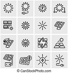 Vector line solar energy icon set. Solar Energy Icon Object,...