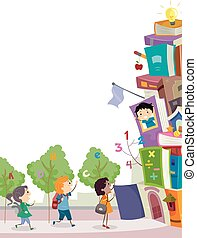 Stickman Kids Book Stack School Enter