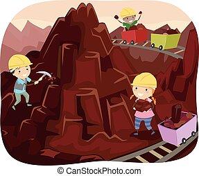 góra, dzieciaki,  stickman, kopalnia, czekolada