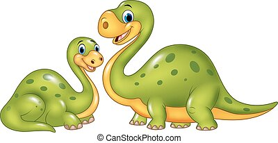 Happy mother with baby dinosaur - Vector illustration of...