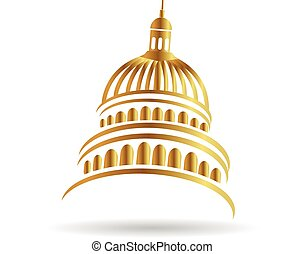 Capitol building gold logo illustration icon vector design