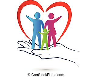 Family care logo - Family care protection love concept...