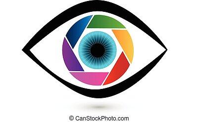 Eye shutter icon vector logo design template. Photo video...