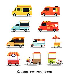 Food Vehicles, Truck, Van, Pushcart, Color Set - Street Food...