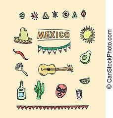 Hand drawn vector set of mexican symbols- guitar, sombrero,...