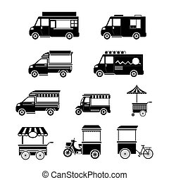 Food Vehicles, Truck, Van, Pushcart, Mono Set - Street Food...