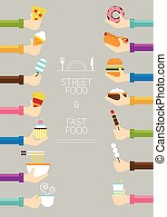 Hands Holding Food - Fast Food and Street Food