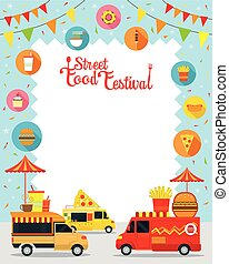 Food Truck, Street Food Festival Poster, Frame - Food and...