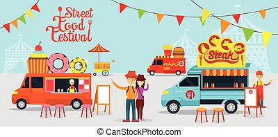Food Truck, Street Food Festival - Food and Drink, Dessert,...