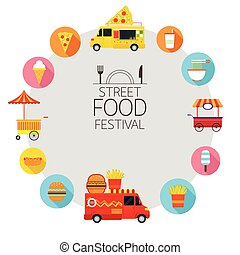 Food Truck, Street Food Icons Frame - Food and Drink, Fast...
