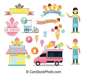 Ice Cream Shop Graphic Elements - Store, Truck, Seller,...