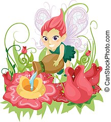 Colorful Kid Girl Fairy Feed Flowers - Illustration of a...