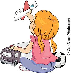 Gender Stereotypes Kid Girl Playing Boy Toys - Illustration...