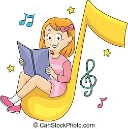 Kid Girl Sitting Read Book Music Note