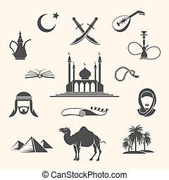 Arabian icons set - Set of Arabian or Middle East black...