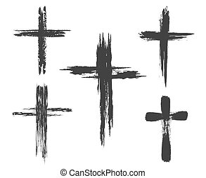 Brush painted cross icons - Hand drawn christian cross...