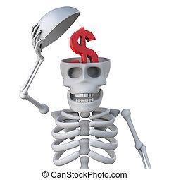 3d Skeleton has US dollars on his mind - 3d render of...