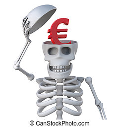 3d Skeleton has a Euro currency symbol inside his head - 3d...