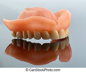 teeth with reflection - dentition, symbolfoto for dentures,...