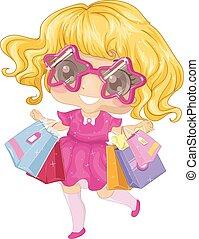 Kid Girl Shopping Spree - Illustration of a Little Girl...