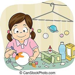 Kid Girl Solar System Model Project