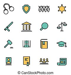 Trendy flat line icon pack for designers and developers...