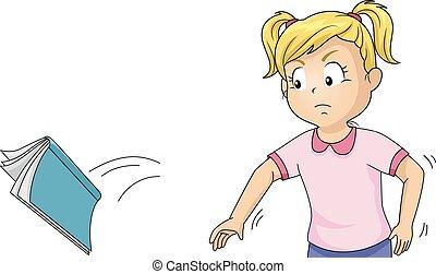 Angry Kid Girl Throw Book