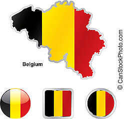 flag of belgium in map and web buttons shapes - fully...