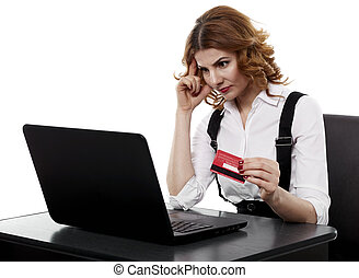 Suspicious businesswoman with credit card - Unsure...