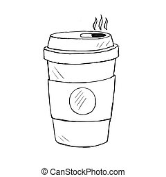 vector illustration of coffee cup, doodle icon