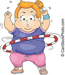 Exercise Kid Girl Fat Hula Hoop - Illustration of an...