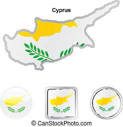 flag of cyprus in map and web buttons shapes - fully...