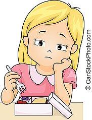 Kid Girl Lost Appetite Pick Food
