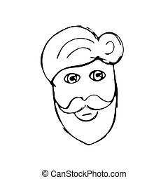 Vector hand drawn mustache beard and hair style, doodle...