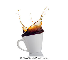 Coffee splash from a cup isolated on white background