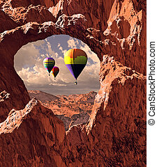Southwest Hot Air Balloons - Hot air balloons drifting over...