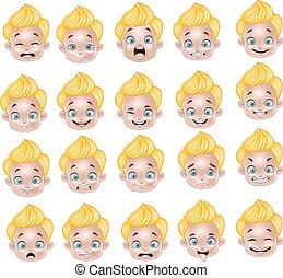 Cartoon Little boy various face