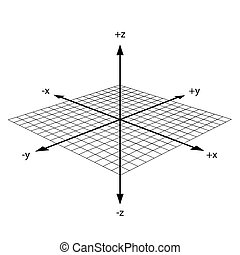 3d coordinate axis - image of 3d coordinate axis isolated on...