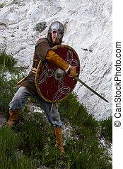 cavaleiro, ligado, Um, rocha, com, Um, sword, ,