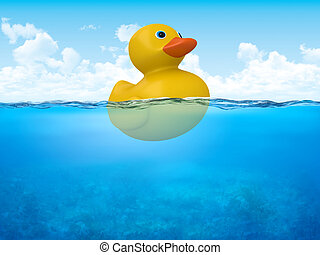 Yellow duck in open sea - 3d characters isolated on white...