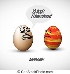 Funny easter eggs with a speech bubble