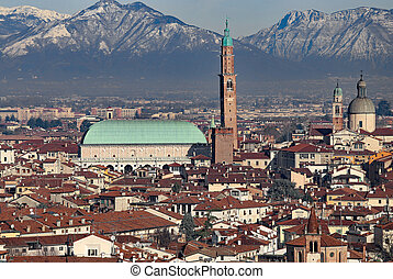 Vicenza, Italy, Panorama of the city with Basilica...