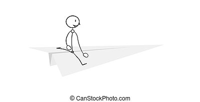 paper airplane with simple person