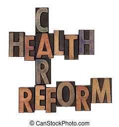 health care reform crossword in vintage wooden letterpress...