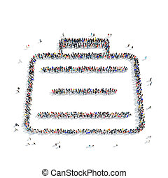 people shape case briefcase icon - A large group of people...