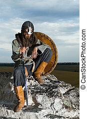 cavaleiro, sentando, ligado, Um, rocha, com, Um, sword, ,