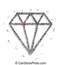 people shape diamond - A large group of people in the shape...