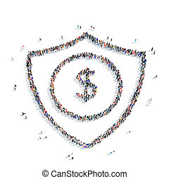 people shield dollar icon - A large group of people in the...