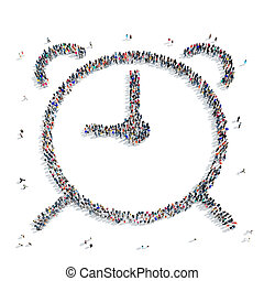 people shape hours - A large group of people in the shape of...